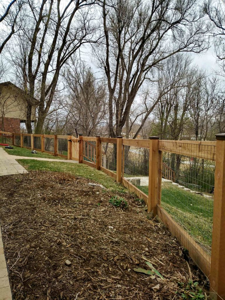 wood fencing with metal