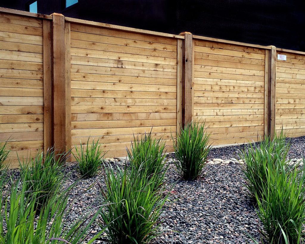 wood fence in Denver with plants in front of it